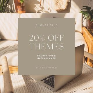 """🌞 summertime is the perfect time to redesign your website! use coupon code """"happysummer"""" at checkout to save on wordpress themes! shop link in bio."""